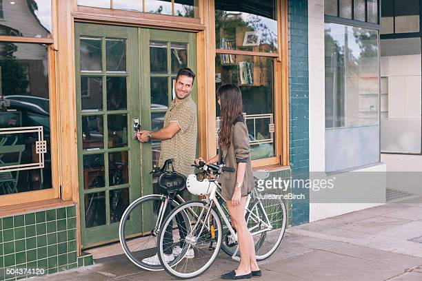 Owner opening his coffee shop