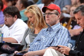 Owner Paul Allen of the Portland Trail Blazers takes in the game against the New Orleans Hornets during NBA Summer League on July 15 2012 at the...
