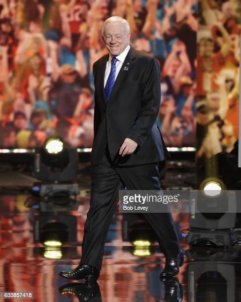Owner president and general manager Jerry Jones introduced as part of the Pro Football Hall of Fame Class of 2017 during the NFL Honors at the...