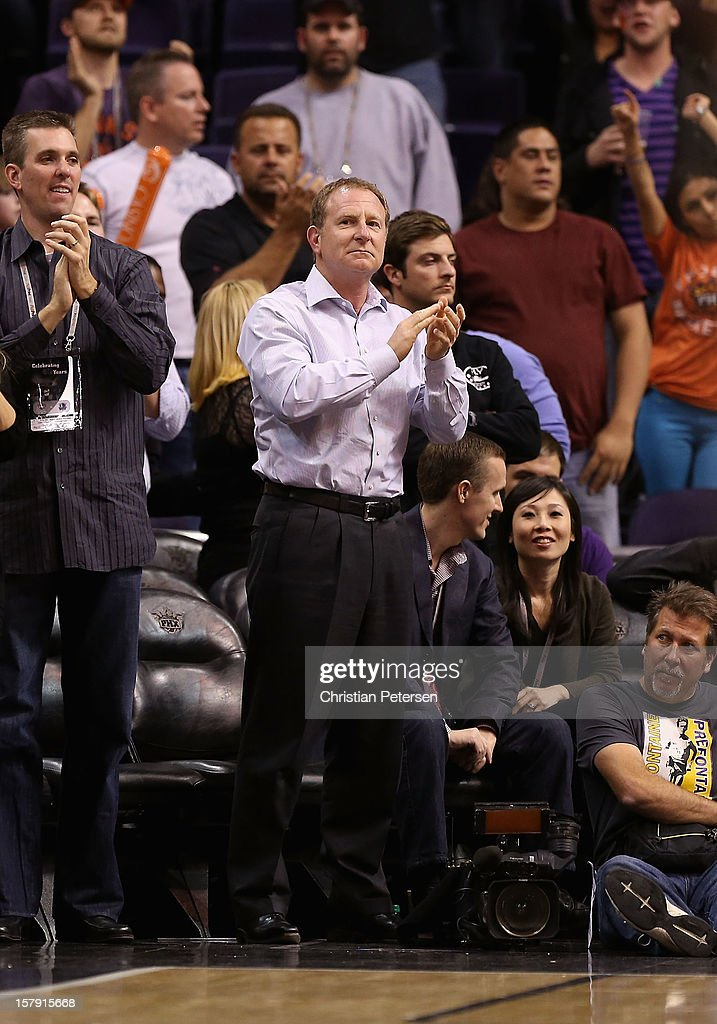 Owner Robert Sarver of the Phoenix Suns cheers during the NBA game against the Dallas Mavericks at US Airways Center on December 6, 2012 in Phoenix, Arizona. The Mavericks defeated the Suns 97-94.