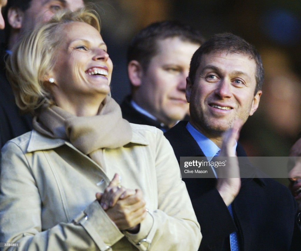 Owner Roman Abramovich of Chelsea looks happy as the players come onto the field during the UEFA Champions League Quarter Final Second Leg match between Arsenal and Chelsea at Highbury on March 6, 2004 in London.