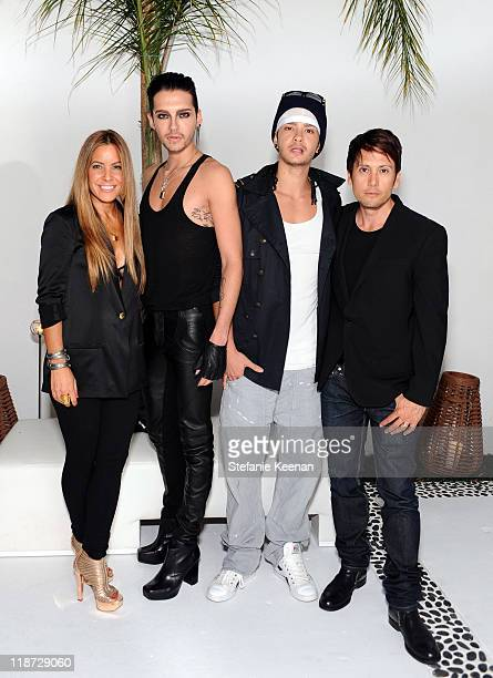 Owner Shay Todd musicians Bill Kaulitz and Tom Kaulitz of Tokio Hotel and owner Shiro Gutzie attend the Shay Todd Flagship Store Opening at Shay Todd...