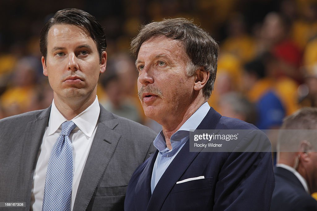 Owner Stan Kroenke and President Josh Kroenke of the Denver Nuggets watches their team face off against the Golden State Warriors in Game Six of the Western Conference Quarterfinals during the 2013 NBA Playoffs on May 2, 2013 at Oracle Arena in Oakland, California.