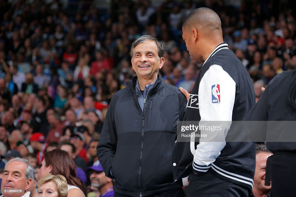 Owner Vivek Ranadive of the Sacramento Kings talks with Sacramento mayor <a gi-track='captionPersonalityLinkClicked' href=/galleries/search?phrase=Kevin+Johnson+-+Politician&family=editorial&specificpeople=12777886 ng-click='$event.stopPropagation()'>Kevin Johnson</a> during the game against the Los Angeles Clippers on February 26, 2016 at Sleep Train Arena in Sacramento, California.