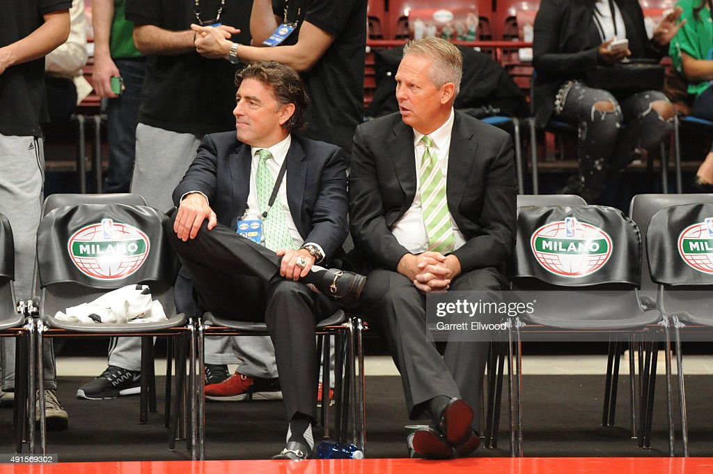 Owner Wyc Grousbeck and President of Basketball Operations, <a gi-track='captionPersonalityLinkClicked' href=/galleries/search?phrase=Danny+Ainge&family=editorial&specificpeople=504679 ng-click='$event.stopPropagation()'>Danny Ainge</a> of the Boston Celtics watch the game against Emporio Armani Milano as part of the 2015 Global Games on October 6, 2015 at the Mediolanum Forum, Arena Sala Premium in Milan, Italy.