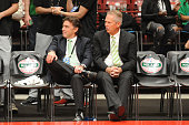 Owner Wyc Grousbeck and President of Basketball Operations Danny Ainge of the Boston Celtics watch the game against Emporio Armani Milano as part of...