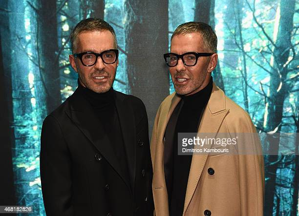 Owners and Creative Directors of DSQUARED2 Dan Caten and Dean Caten attend the DSQUARED2 celebration of New York Flagship Opening on March 30 2015 in...