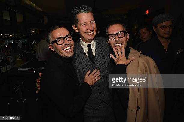 Owners and Creative Directors of DSQUARED2 Dan Caten and Dean Caten and Stanely Tonchi attend the Dsquared's Dean and Dan Caten hosted dinner at...