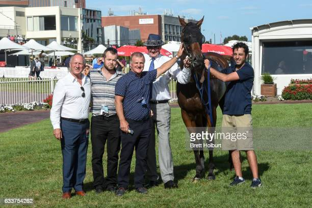 Owners and sponsors of Duke of Brunswick after winning Darren Gauci Farewell Handicap at Caulfield Racecourse on February 04 2017 in Caulfield...