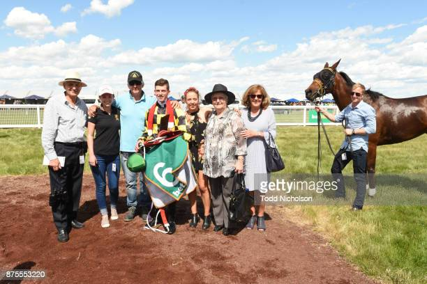 Owners of Another Diamond after winning the XXXX Gold BM70 Handicap at Dunkeld Racecourse on November 18 2017 in Dunkeld Australia
