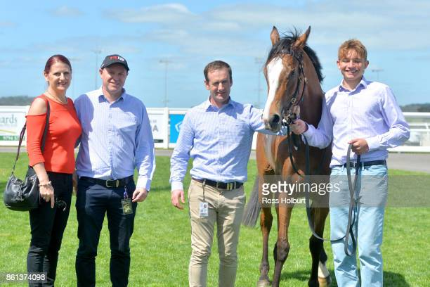 Owners of Nothin' On Me after winning the XXXX Gold FM Maiden Plate at Racingcom Park Racecourse on October 14 2017 in Pakenham Australia