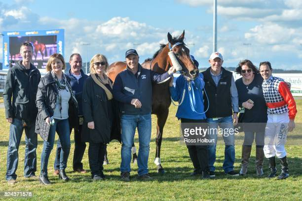 Owners of Oracabessa after winning the Drouin Golf Country Club Maiden Plate at Racingcom Park Synthetic Racecourse on July 30 2017 in Pakenham...