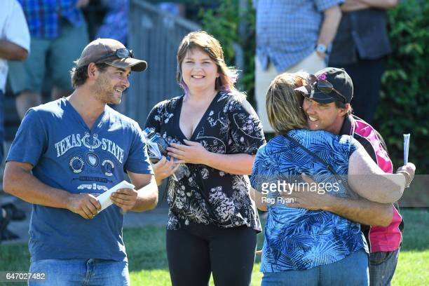 Owners of Roycey with Jamie Edwards after winning CBRE Agribusiness Handicap at Terang Racecourse on March 02 2017 in Terang Australia