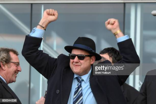 Owners of Sullivan Bay celebrate after winning the Legacy 2017 Badge Appeal Handicap at Caulfield Racecourse on August 19 2017 in Caulfield Australia