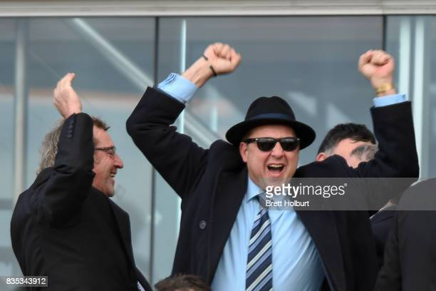 Owners of Sullivan Bay celebrate winning the Legacy 2017 Badge Appeal Handicap at Caulfield Racecourse on August 19 2017 in Caulfield Australia