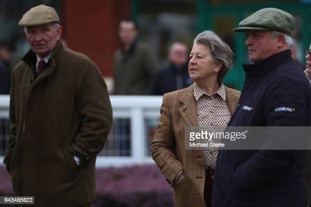 Owners of Thistlecrack John Snook and Heather Snook alongside trainer Colin Tizzard at Taunton Racecourse on February 21 2017 in Taunton England