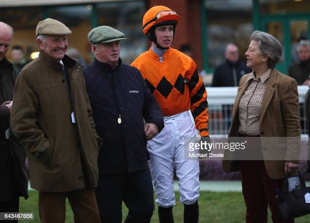 Owners of Thistlecrack John Snook and Heather Snook alongside trainer Colin Tizzard and jockey Paul O'Brien in the parade ring ahead of O'Brien's...