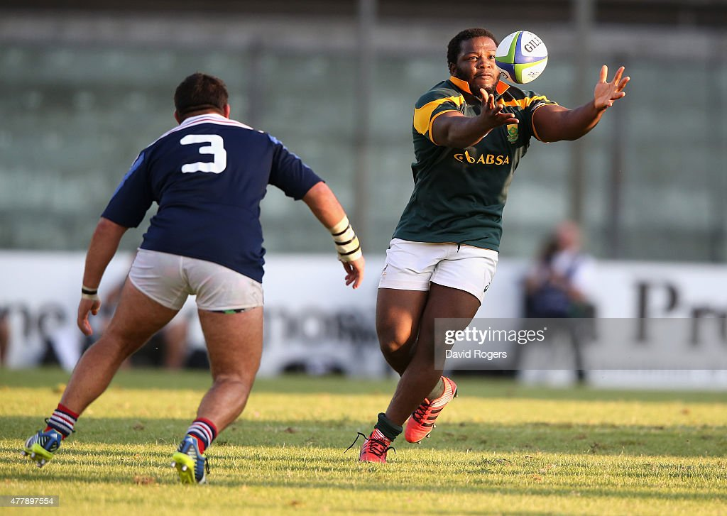 Ox Nche of South Africa catches the ball during the World Rugby U20 Championship 3rd Place Play-Off match between France and South Africa at Stadio Giovanni Zini on June 20, 2015 in Cremona, Italy.