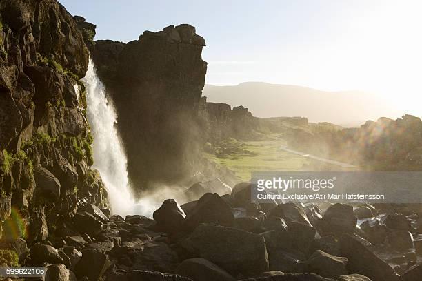 Oxararfoss waterfall, Thingvellir national park, Thingvellir, Blaskogarbyggd, Iceland
