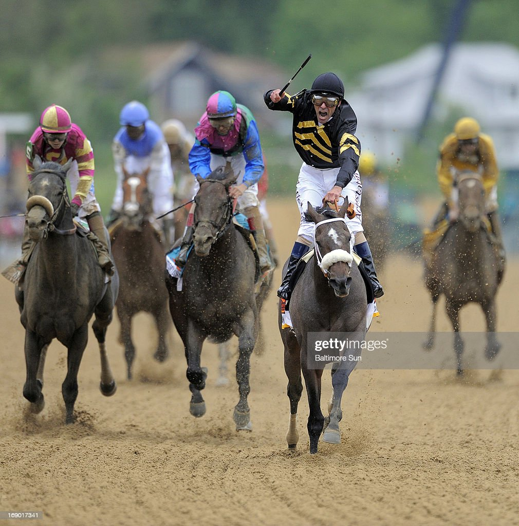 Oxbow, ridden by jockey Gary Stevens, wins the 138th running of The Preakness Stakes at Pimlico Race Course in Baltimore, Maryland, Saturday, May 18, 2013.
