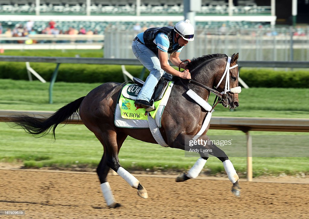 Oxbow runs on the track during the morning training for the 2013 Kentucky Derby at Churchill Downs on May 2, 2013 in Louisville, Kentucky.