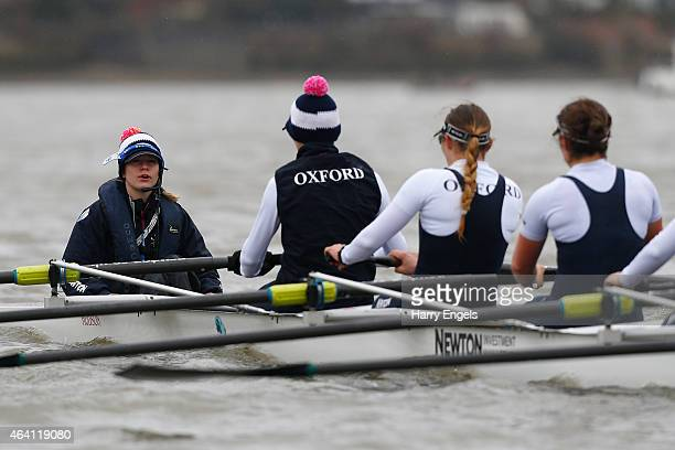 Oxford cox Jennifer Ehr is seen during the Boat Race Trial Race between Oxford University Women's Boat Club and Molesey Boat Club on the River Thames...