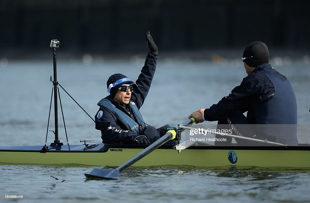 Oxford cox Oskar Zorrilla in action during a training outing on The River Thames on March 30 2013 in London England The 159th University Boat Race...