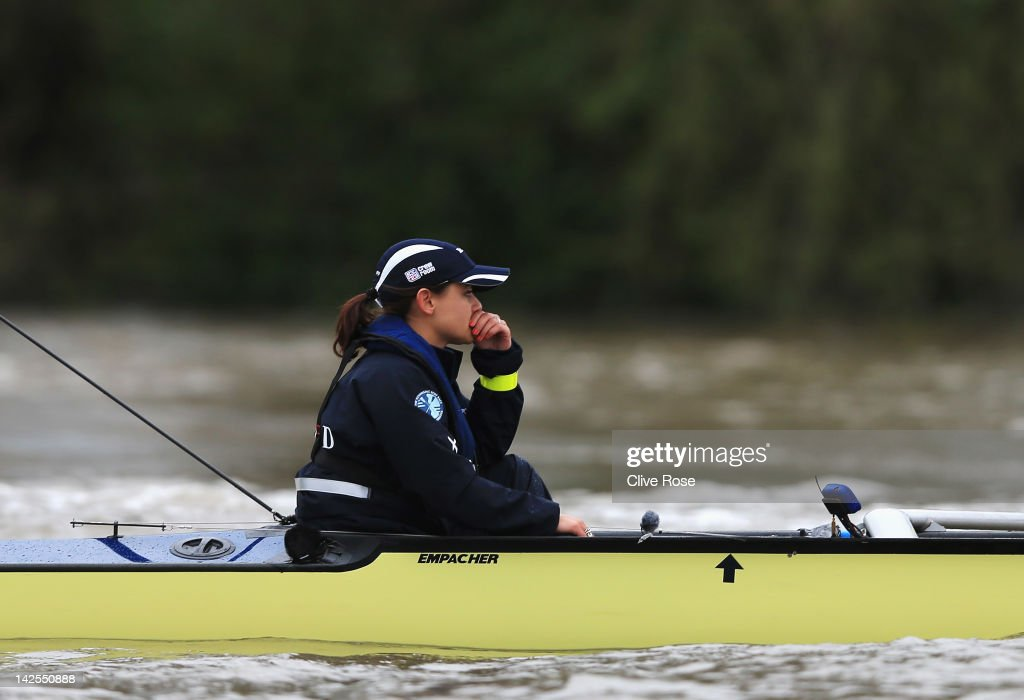 Oxford Cox Zoe De Toledo reacts following the Xchanging University Boat Race between Oxford and Cambridge University on the River Thames on April 7...