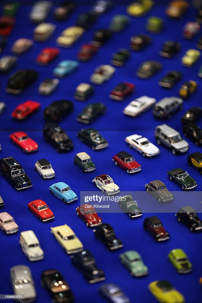 Oxford die cast model cars are displayed on a trade stand during the 2013 London Toy Fair at Olympia Exhibition Centre on January 22, 2013 in London, England. The annual fair which is organised by the British Toy and Hobby Association, brings together toy manufacturers with retailers from around the world.