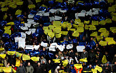 Oxford fans bring some atmosphere and colour to the game during the Johnstone's Paint Trophy southern section semi final second leg match between...
