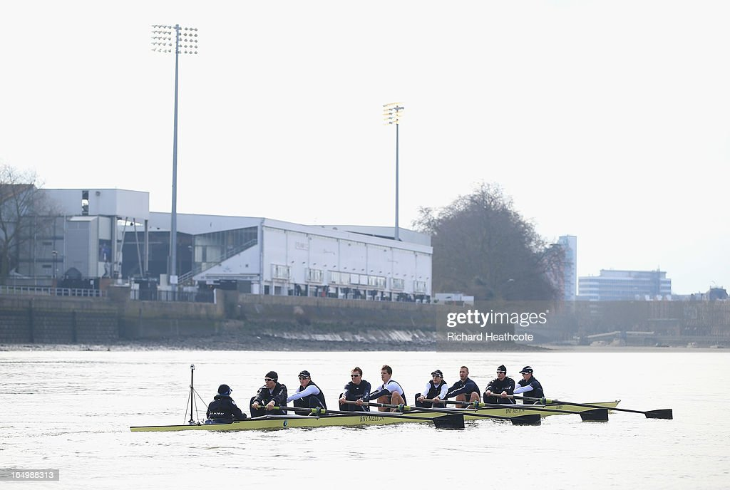 Oxford go past Fulham Football Club during a training outing on The River Thames on March 30, 2013 in London, England. The 159th University Boat Race will take place on Sunday 31st March 2013 from Putney to Mortlake.