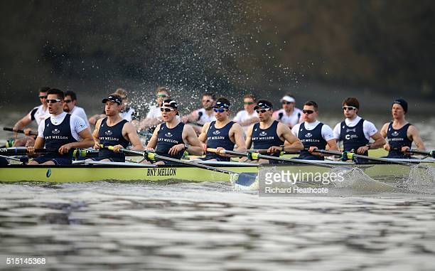 Oxford in action against Leander during a 2016 Cancer Research UK Boat Race fixture on The River Thames on March 12 2016 in London England