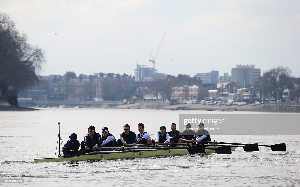 Oxford in action during a training outing on The River Thames on March 30, 2013 in London, England. The 159th University Boat Race will take place on Sunday 31st March 2013 from Putney to Mortlake.