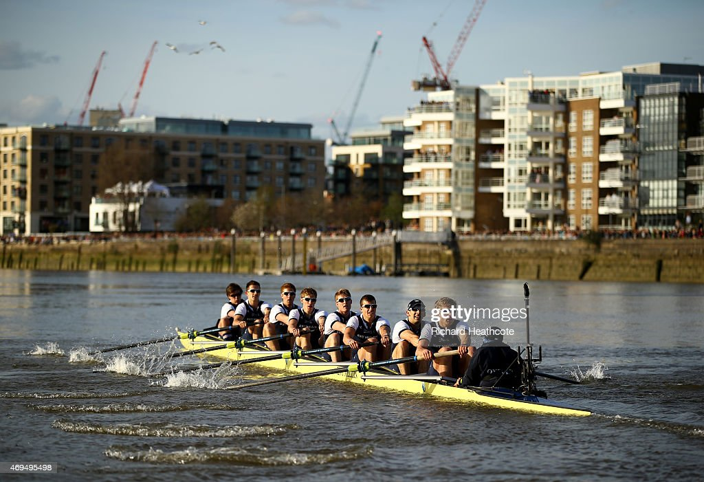 Oxford in action during the BNY Mellon University Boat Race on The River Thames on April 11 2015 in London England