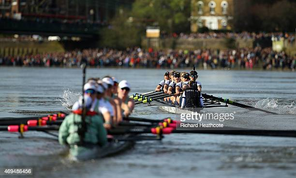 Oxford take a lead over Cambridge during the Newton Women's Boat Race on April 11 2015 in London England