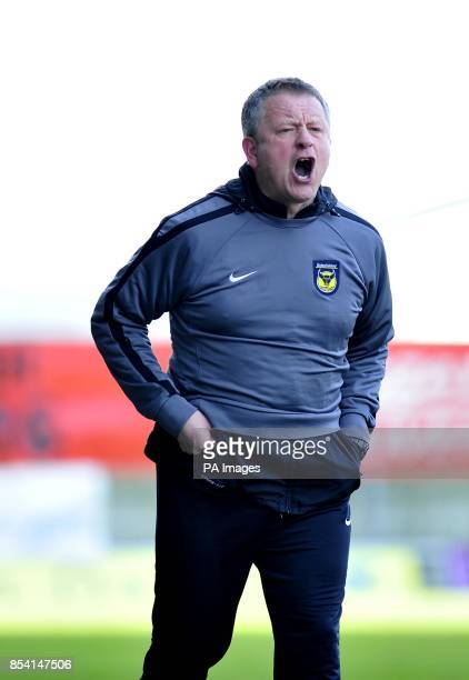Oxford United manager Chris Wilder during the npower Football League Two match at the Kassam Stadium Oxford