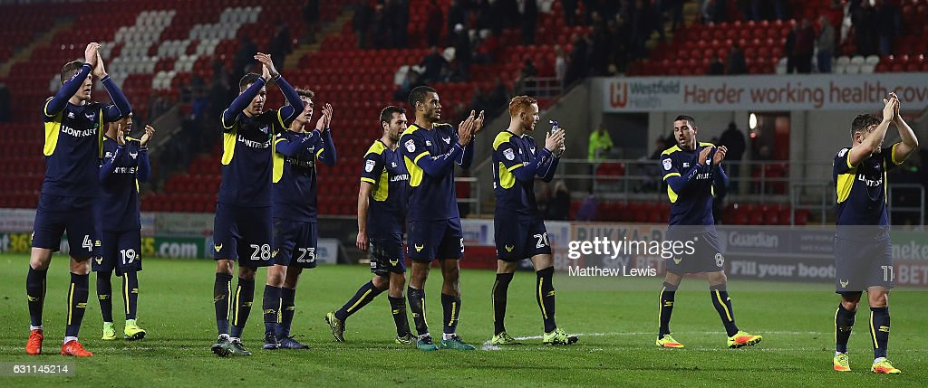 Oxford United players thank the traveling suppotrters, after The Emirates FA Cup Third Round match between Rotherham United and Oxford United at The New York Stadium on January 7, 2017 in Rotherham, England.