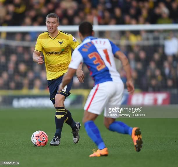 Oxford United's Joe Skarz and Blackburn Rovers' Connor Mahoney