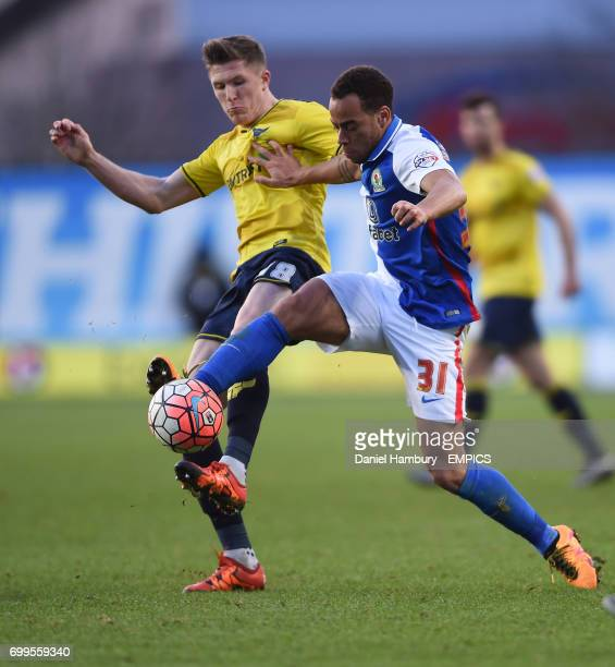 Oxford United's John Lundstram battles with Blackburn Rovers' Connor Mahoney
