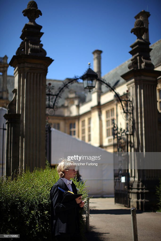 Oxford University students arrive at the Exam Schools building to take examinations on June 17 2010 in Oxford England During June almost twelve...