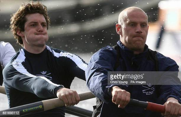 Oxford's Barney Williams and Jake Wetzel during a practice session on the River Thames London Friday March 31 2006 ahead of the Boat Race on Sunday...