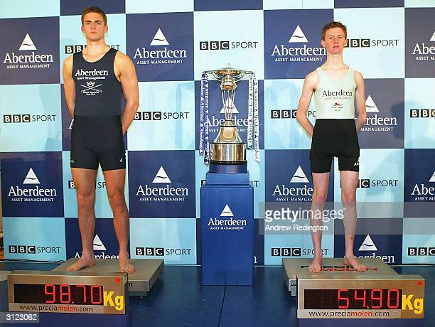 Oxford's heaviest man Peter Reed and Cambridge's lightest man Kenelm Richardson pose during the WeighIn and Photocall for the 150th Boat Race...