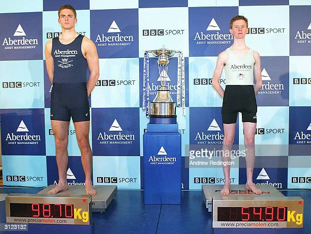 Oxford's heaviest man Peter Reed and Cambridge's lightest man Kenelm Richardson pose during the WeighIn and Photo call on March 23 2004 at The...
