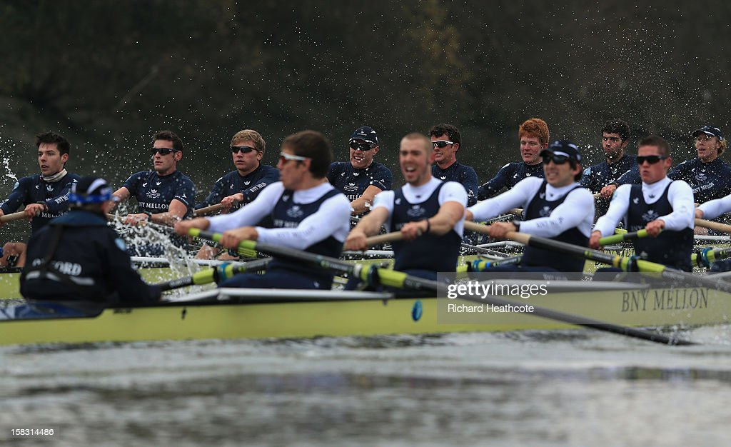 Oxford's 'Hurricane' (far side) and 'Spitfire' crews compeate during the trial 8's for The BNY Melon University Boat Race on The River Thames on December 13, 2012 in London, England.