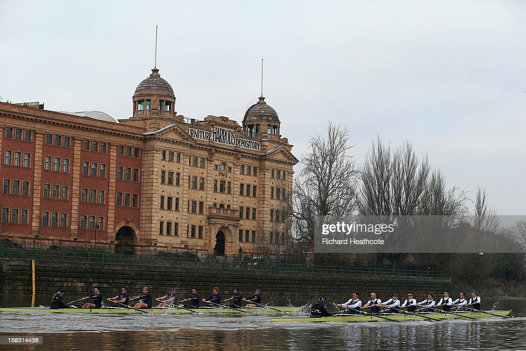 Oxford's 'Hurricane' and 'Spitfire' crews pass the Harrod's Depository during the trial 8's for The BNY Melon University Boat Race on The River Thames on December 13, 2012 in London, England.
