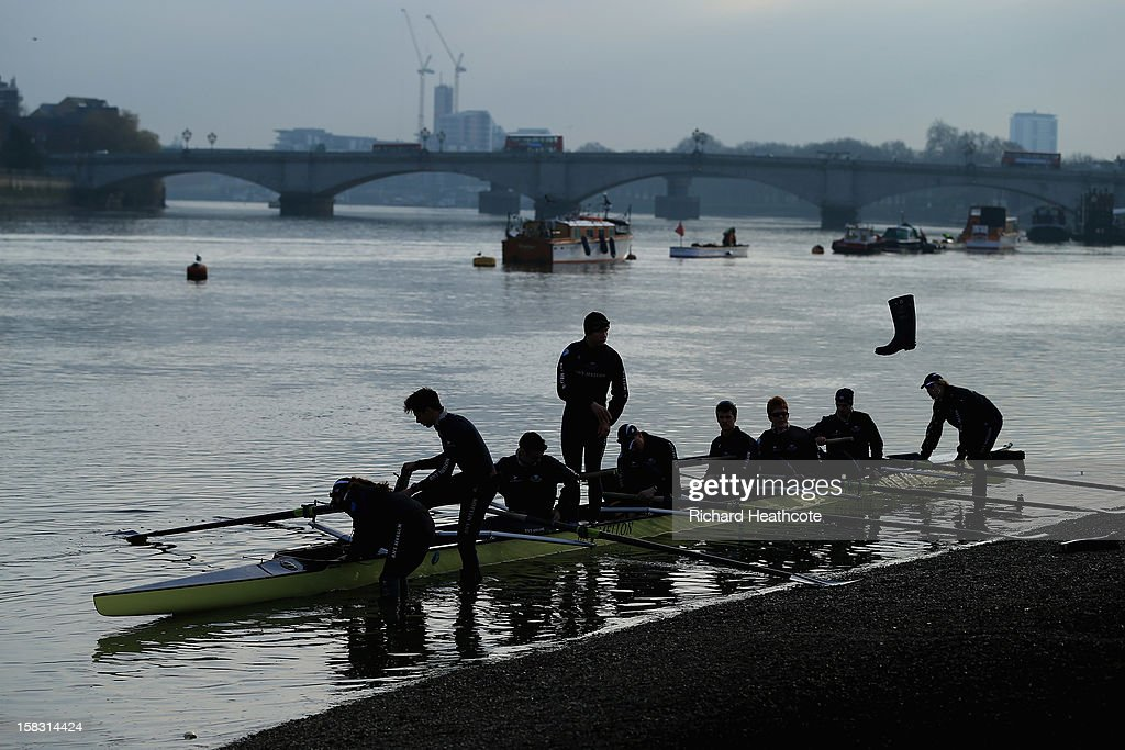 Oxford's 'Hurricane' crew put themseleves out onto the water during the trial 8's for The BNY Melon University Boat Race on The River Thames on December 13, 2012 in London, England.