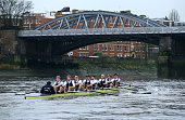 Oxford's 'Pleasure' boat in action during the BNY Mellon University Boat Race Trial 8's on The River Thames on December 13 2015 in London England