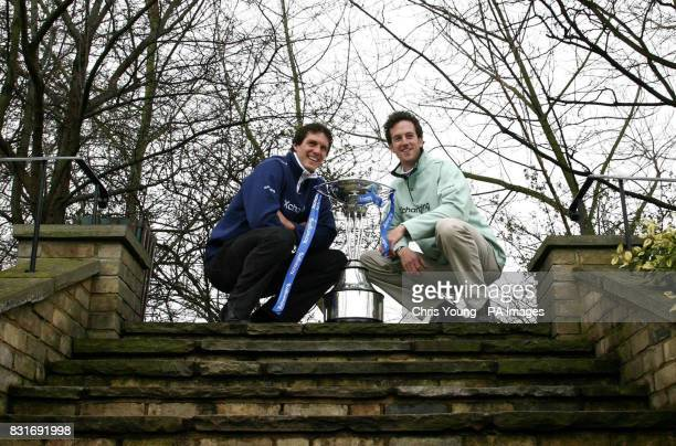 Oxford's President Barney Williams and Cambridge President Tom Edwards with the Boat Race Trophy following the weightin at The Hurlingham Club London...