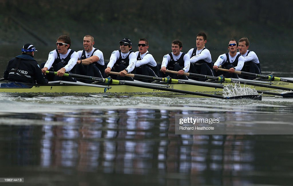 Oxford's 'Spitfire' crew on thier way to a narrow victory over 'Hurricane' during the trial 8's for The BNY Melon University Boat Race on The River Thames on December 13, 2012 in London, England.