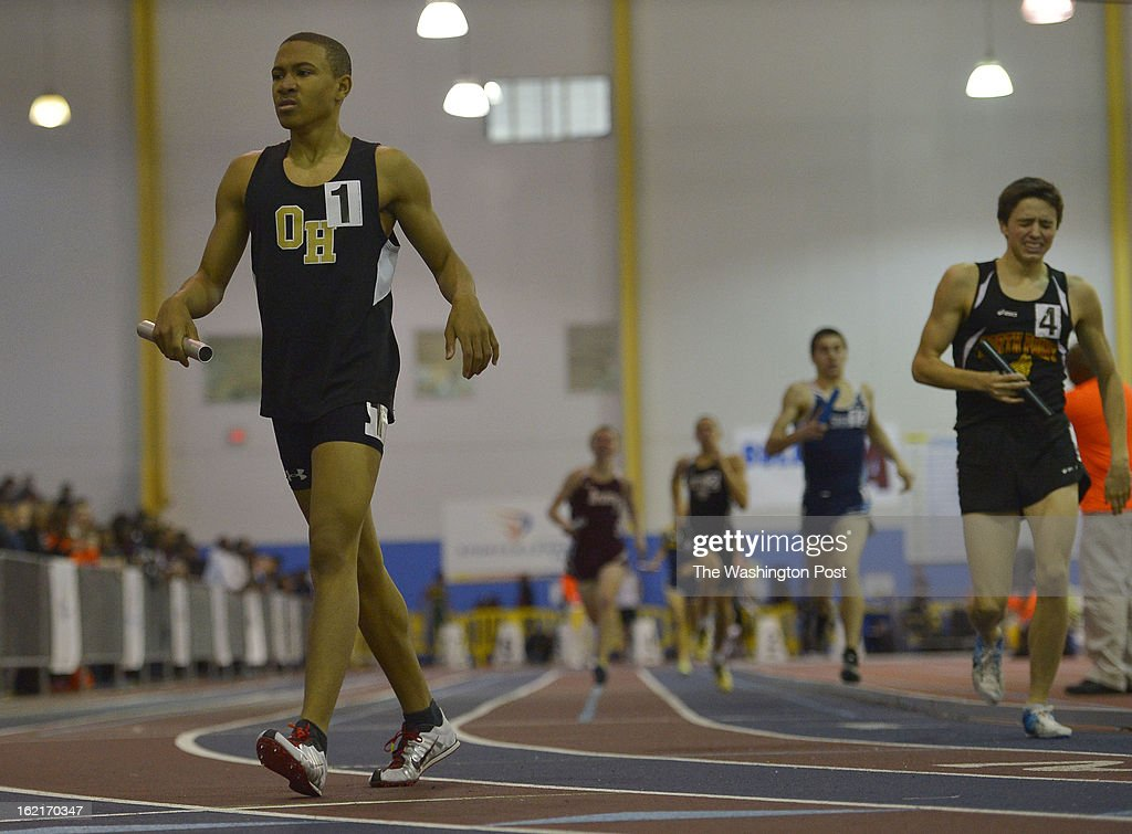 Oxon Hill High School's Antonio DaCosta, the anchor leg runner, walks off the track after helping his team win the 4A Boys 4x800 Meter Relay with a time of 8:14.71 during the Maryland 3A/4A Indoor Track Championships at the Prince George's Sports and Learning Complex on February 19, 2013 in Landover, Md.
